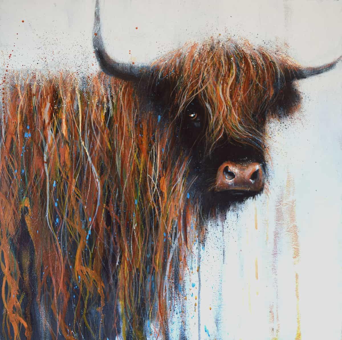 Hilltop Highlander by Sandra Binney Art New Forest cattle